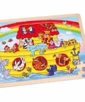 Kinderspeelgoed houten ark van noach puzzel