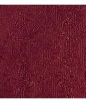 Luxe servetten bordeaux rood barok 3 laags 15 stuks