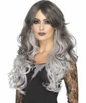 Luxe tweekleurige grijze damespruik lang haar