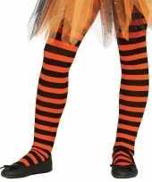Maillot gestreept oranje zwart voor meisjes