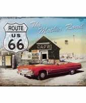 Metalen muurposter van de route 66