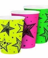 Neon drinkbekertjes 6 stuks