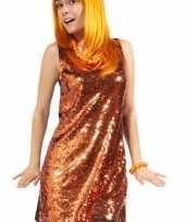 Oranje glinster jurk voor dames