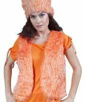 Oranje nep bont vestje dames