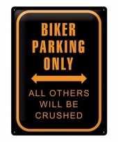 Parkeren alleen voor motorrijders metalen muurplaat 30 x 40 cm