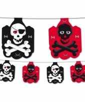 Piraten feest slinger zwart rood 350 cm