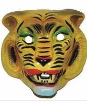 Plastic tijger masker geel voor volwassenen