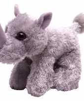 Pluche knuffeltje neushoorn grijs 18 cm