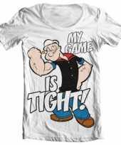 Popeye kleding heren shirt wit wijde hals