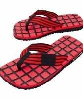 Rood zwarte teenslippers voor dames