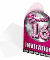 Roze 16 jaar uitnodiging kaarten 8 stuks