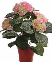 Roze groene kunst hortensia plant 36 cm