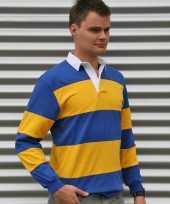 Rugbyshirt blauw met geel