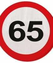 Servetjes 65 jaar verkeersbord