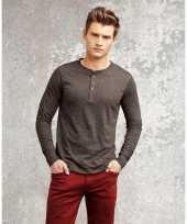 Shirt voor heren met knoopjes grijs