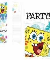 Spongebob verjaardag uitnodigingen 6 stuks