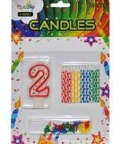 Taarten decoratie kaarsen cijfer 2