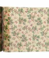 Tafelloper kerst dennenappel jute 200 x 35 cm