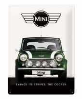 Tinnen muurplaatje mini cooper