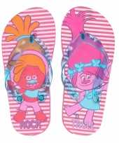 Trolls kinder slippers roze gestreept