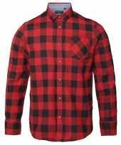Trucker overhemd geblokt rood zwart