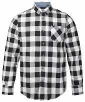 Trucker overhemd geblokt wit zwart