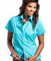 Turkoois shortsleeve dames overhemd