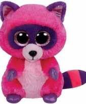 Ty beanie knuffel roze wasbeer met kraalogen 15 cm