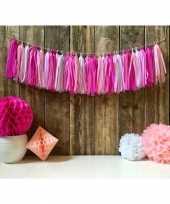 Vintage tassel guirlande roze vloeipapier 5 meter