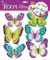 Vlinder stickers 3d groen paars 6 stuks