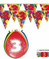 Voordeelverpakking 3 jaar met 2 slingers en ballonnen