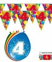 Voordeelverpakking 4 jaar met 2 slingers en ballonnen