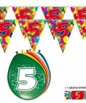 Voordeelverpakking 5 jaar met 2 slingers en ballonnen