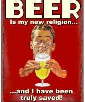 Wandplaat bier nieuwe religie