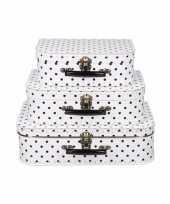 Wit koffertje met zwarte stippen 25 cm 10090167