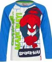 Wit spiderman shirt met blauwe mouwen