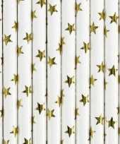 Witte rietjes met gouden sterren 10x