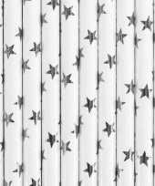 Witte rietjes met zilveren sterren 10x