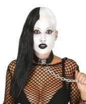 Zwarte gothic pruik met de helft afgeschoren